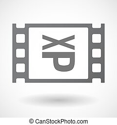 Isolated celluloid film frame icon with a Tongue sticking...