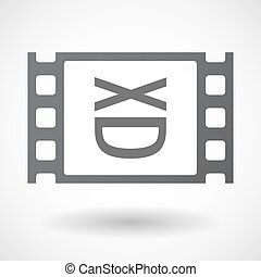 Isolated celluloid film frame icon with a laughing text face...