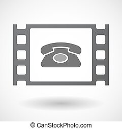 Isolated celluloid film frame icon with a retro telephone...
