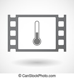 Isolated celluloid film frame icon with a thermometer icon -...