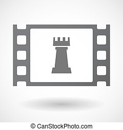 Isolated celluloid film frame icon with a rook chess figure...