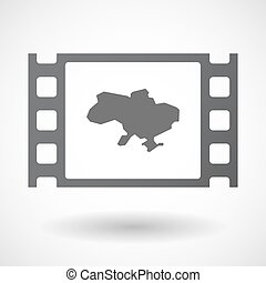 Isolated celluloid film frame icon with the map of Ukraine -...