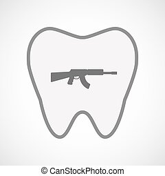 Isolated line art tooth icon with a machine gun sign -...
