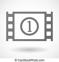 Isolated celluloid film frame icon with a coin icon -...