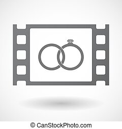 Isolated celluloid film frame icon with two bonded wedding...