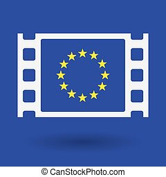 Isolated celluloid film frame icon with the EU flag stars -...