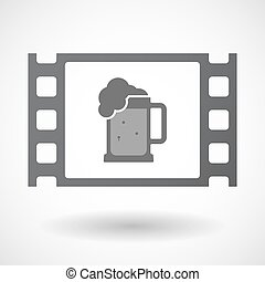 Isolated celluloid film frame icon with a beer jar icon -...