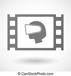 Isolated celluloid film frame icon with a female head...