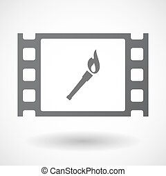 Isolated celluloid film frame icon with a torch icon -...