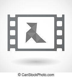 Isolated celluloid film frame icon with a paper bird -...