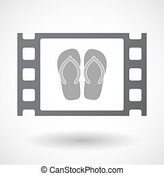Isolated celluloid film frame icon with a pair of flops -...