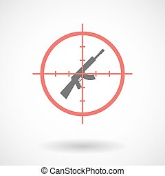 Isolated line art crosshair icon with  a machine gun sign