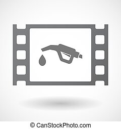 Isolated celluloid film frame icon with a gas hose icon -...