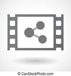 Isolated celluloid film frame icon with a network sign -...
