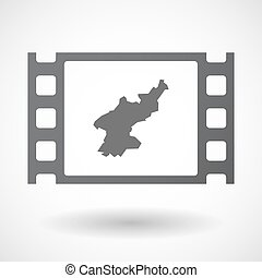 Isolated celluloid film frame icon with the map of North...