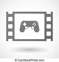 Isolated celluloid film frame icon with a game pad -...