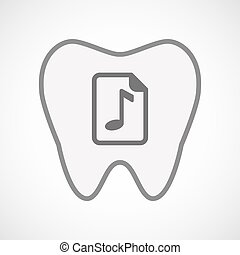 Isolated line art tooth icon with a music score icon -...