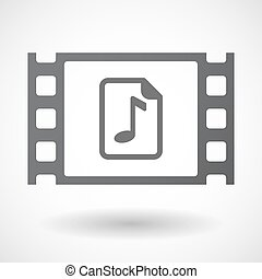 Isolated celluloid film frame icon with a music score icon -...