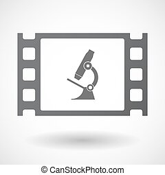 Isolated celluloid film frame icon with a microscope icon -...