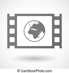 Isolated celluloid film frame icon with an Asia, Africa and...