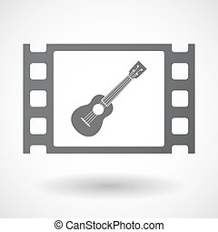 Isolated celluloid film frame icon with an ukulele -...