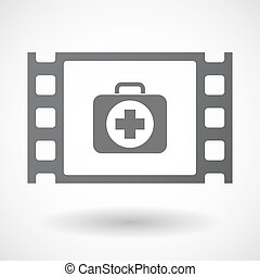 Isolated celluloid film frame icon with a first aid kit icon...
