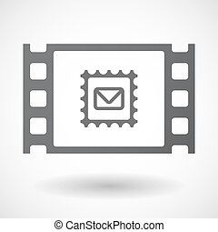 Isolated celluloid film frame icon with a mail stamp sign -...