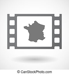 Isolated celluloid film frame icon with the map of France -...