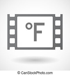 Isolated celluloid film frame icon with a farenheith degrees...