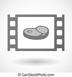 Isolated celluloid film frame icon with a steak icon -...