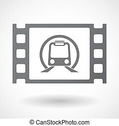 Isolated celluloid film frame icon with a subway train icon...