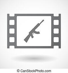 Isolated celluloid film frame icon with a machine gun sign -...