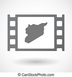 Isolated celluloid film frame icon with the map of Syria -...