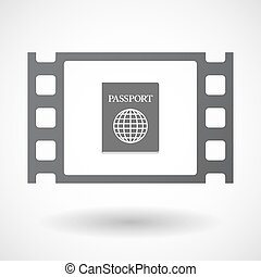 Isolated celluloid film frame icon with a passport -...