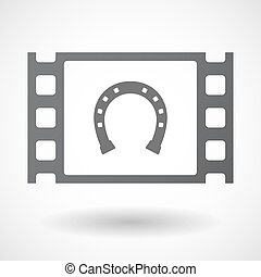 Isolated celluloid film frame icon with a horseshoe sign -...