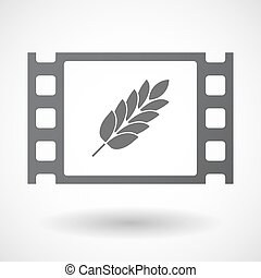 Isolated celluloid film frame icon with a wheat plant icon -...
