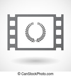 Isolated celluloid film frame icon with a laurel crown sign...