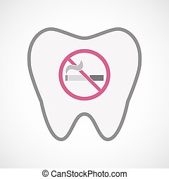 Isolated line art tooth icon with a no smoking sign -...