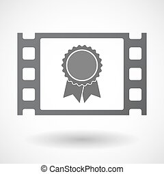 Isolated celluloid film frame icon with a ribbon award -...
