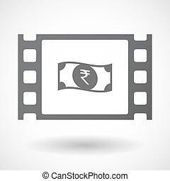 Isolated celluloid film frame icon with a rupee bank note...