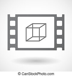 Isolated celluloid film frame icon with a cube sign -...