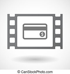 Isolated celluloid film frame icon with a credit card -...
