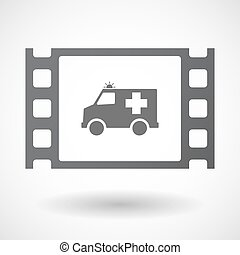Isolated celluloid film frame icon with an ambulance icon -...