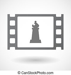 Isolated celluloid film frame icon with a bishop chess...