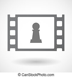 Isolated celluloid film frame icon with a pawn chess figure...