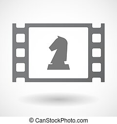 Isolated celluloid film frame icon with a knight chess...