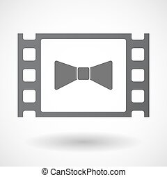 Isolated celluloid film frame icon with a neck tie icon -...