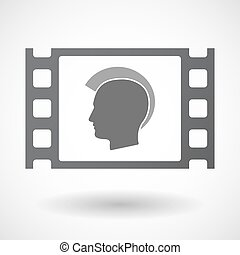 Isolated celluloid film frame icon with a male punk head...