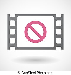 Isolated celluloid film frame icon with a forbidden sign -...