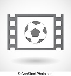 Isolated celluloid film frame icon with a soccer ball -...